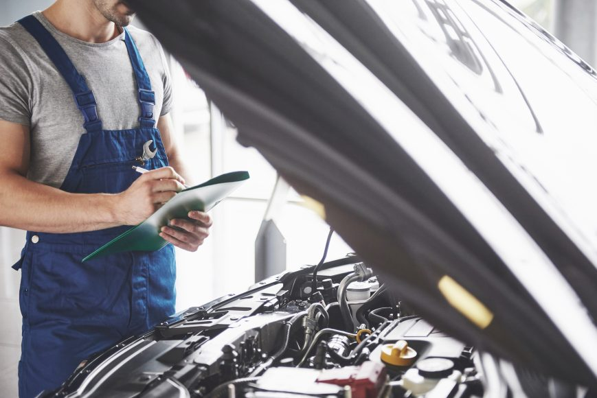 Portrait of a mechanic on an mot test in leamington spa